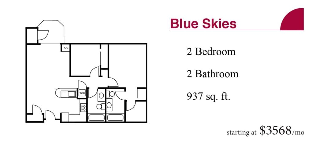 The 937 square-foot Blue Skies apartment with two bedroom and two bathrooms starting at $3568 a month at the Terrace Retirement Community.