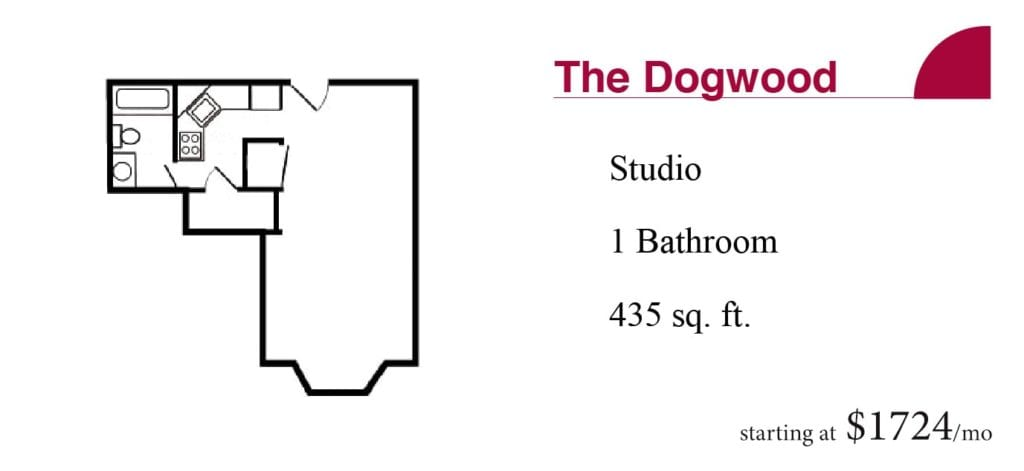 The 435 square-foot Dogwood studio apartment with one bathroom starting at $1724 a month at the Terrace Retirement Community.