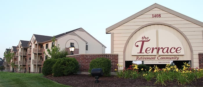 Front entrance signage for the Terrace Retirement Community in Columbia, MO.