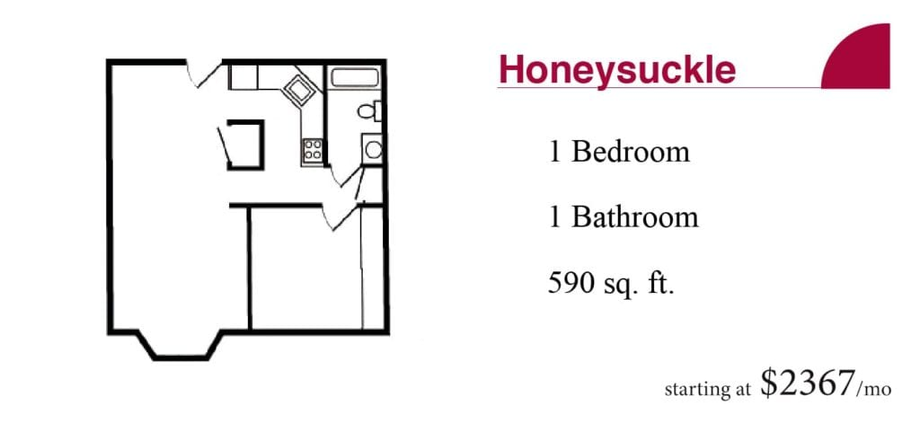 The 590 square-foot Honeysuckle apartment with one bedroom and one bathroom starting at $2367 a month at the Terrace Retirement Community.