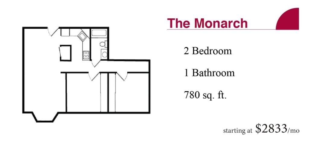 The 780 square-foot Monarch apartment with two bedrooms and one bathroom starting at $2833 a month at the Terrace Retirement Community.