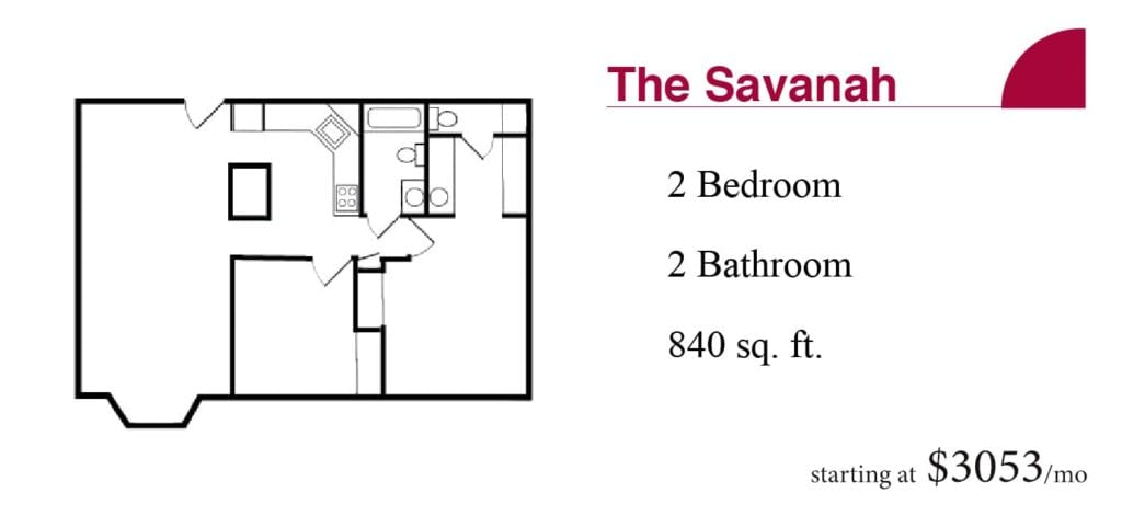 The 840 square-foot Savanah apartment with two bedrooms and two bathrooms starting at $3053 a month at the Terrace Retirement Community.