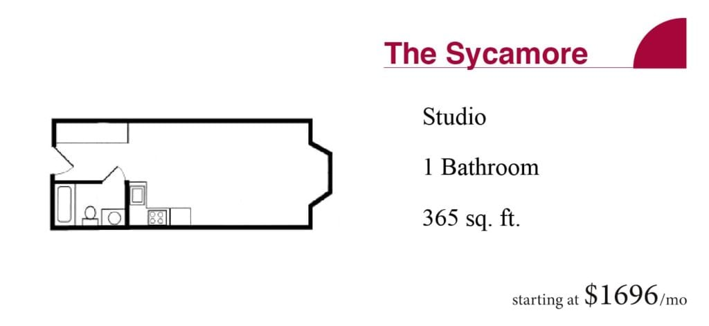 The 365 square-foot Sycamore studio apartment with one bathroom starting at $1696 a month at the Terrace Retirement Community.