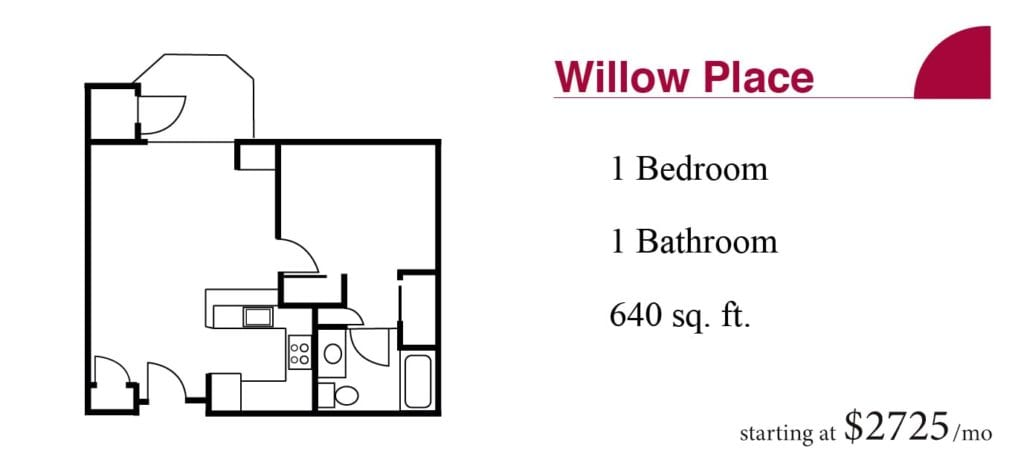The 640 square-foot Willow Place apartment with one bedroom and one bathroom starting at $2725 a month at the Terrace Retirement Community.